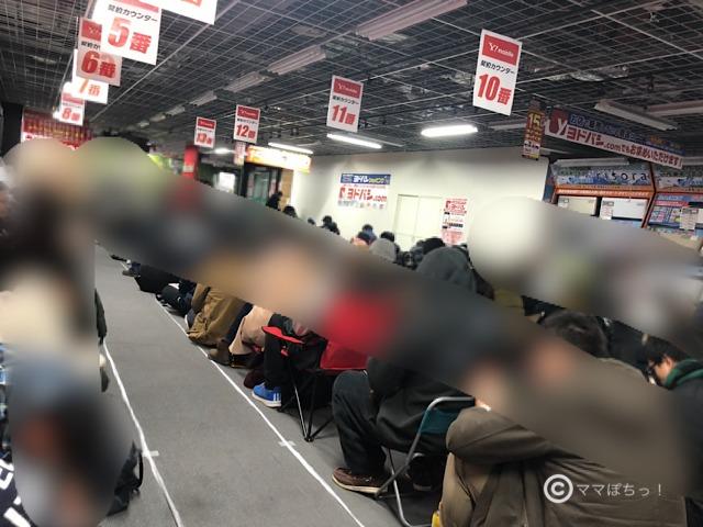 ヨドバシカメラさいたま新都心店の福袋の店頭行列の写真です。