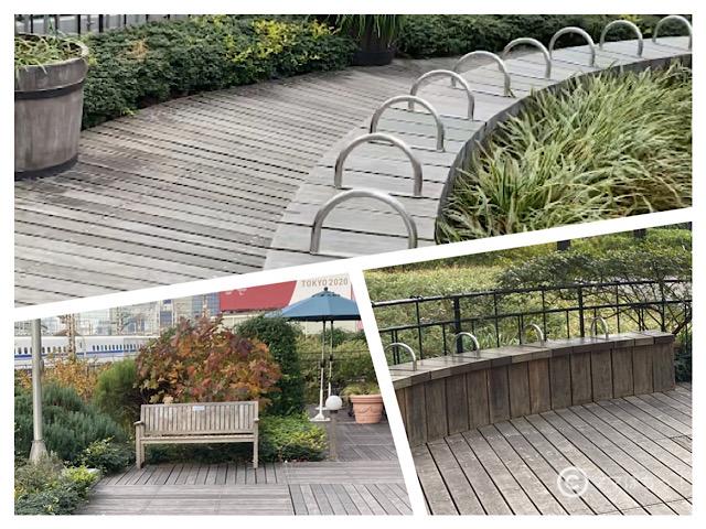 交通会館の屋上庭園「有楽町コリーヌ」のベンチの写真です。