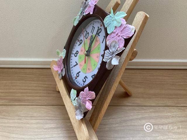 安く簡単に作れる「おしゃれな手作り100均知育時計」の写真です。