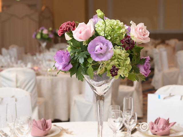 結婚式の卓上装花の写真です。